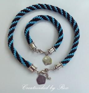 Conjunto de estilo marinero de gargantilla y pulsera bicolor azul y negro. Terminales, cierre y adorno de estrella de mar con frase, plateados.